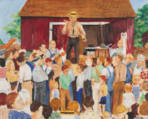 Joan Arend (Kirkbush), Wisconsin Farm Auction. Oil, 1945.