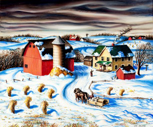 Lois Ireland, Homecoming, c. 1945. Oil on canvas, 29½ x 35½ inches. Collection of the Wisconsin Regional Art Program, UW–Madison.