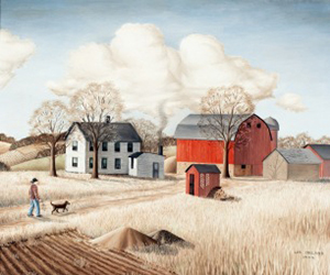 Lois Ireland, The Homestead, c. 1944. Oil on canvas, 34¾ x 28½ inches. Collection of the Wisconsin Regional Art Program, UW–Madison.