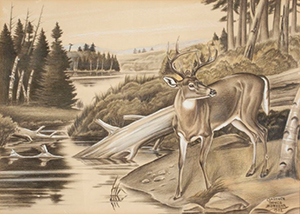 Clarence Boyce Monegar, <em>The Watering Hole</em>, c. 1942. Watercolor. Collection of the Wisconsin Regional Art Program, UW–Madison.