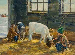 Iris Furman Tellefson, charter member, Rural Arts Program (1940). Feeding Time. Oil painting, c. 1942.