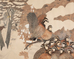 Walter Thorp, Covey of Quails, c. 1941. Crayon and pencil. Collection of the Wisconsin Regional Art Program, UW‑Madison.