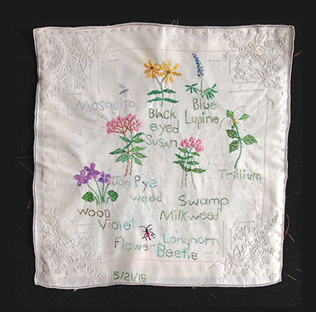 Leslee Nelson memory cloth: Wisconsin Native Flowers
