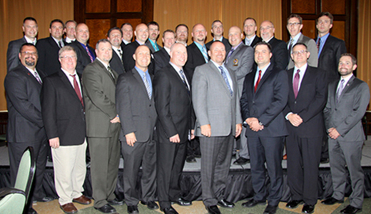<h4>Graduates of the CPM Program – Wisconsin Law Enforcement Command College – June 2014</h4> <p>Left to right, back row to front: William Adams, Dean Sukus, James Stilson, Jason Liermann, Brian Wall, Jeffrey Brester, Thomas Lemke, Benjamin Beaudoin, Brian Larson, David Poteat, Shawn Engleman, Terry McHugh, Matthew Joski, Christopher DeGlopper, Michael Richter, Todd Schaller, John Heffernan, Robert Jasinski, Jeff Rickaby, James Mastrocola, Richard Gramza, Clinton Henry, Carl Gloede, Adrian Bump, Michael Hartert, William Curtis</p>