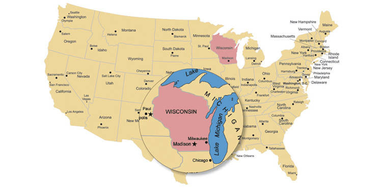 Map of USA with Wisconsin emphasized