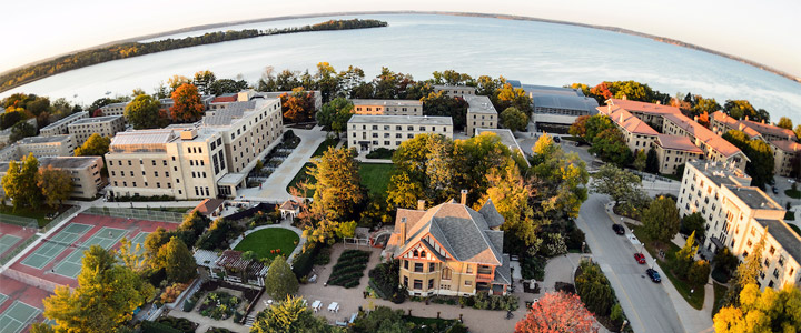Allen Centennial Garden and the Agricultural Dean's Residence, along with Lake Mendota and the lakeshore residence halls on the University of Wisconsin-Madison campus are pictured in an aerial view taken with a fisheye lens during autumn on Oct. 13, 2016. The photograph was made from a helicopter looking north. (Photo by Jeff Miller/UW-Madison)