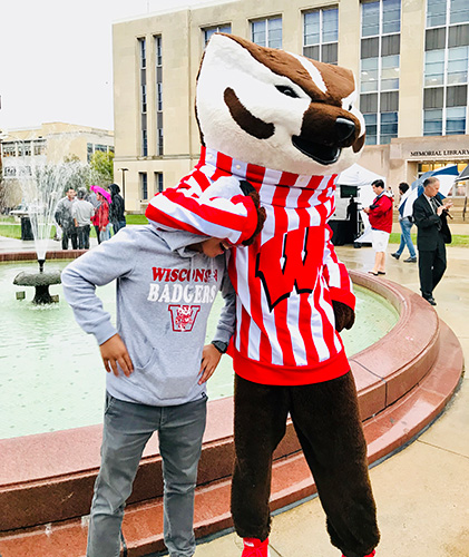 UW Advance student with Bucky Badger.