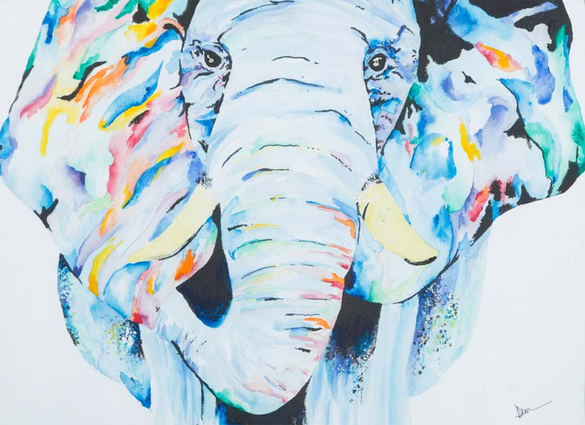Dawn Weyh, Endeavor Vibrant Zoo: Elephant Watercolor and Ink