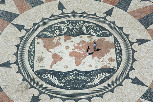 Map of the world mosaic on plaza grounds