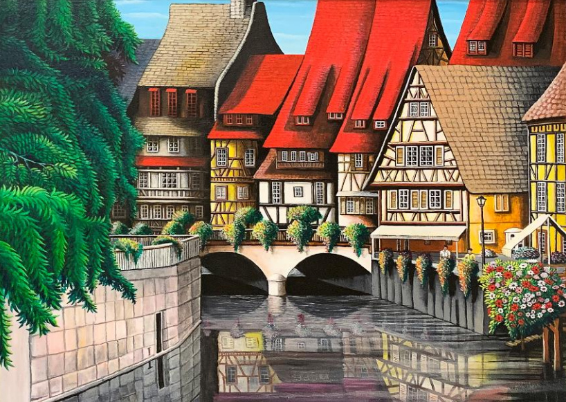Acrylic painting, titled Colmar, France, by John Bittner