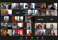 Odyssey staff and alumni meet online.