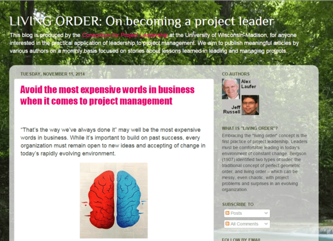 screen shot of Jeff Russell's blog on project management