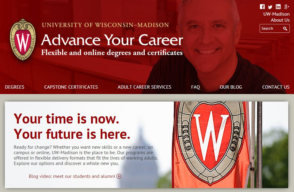 Advance Your Career screenshot: a resource for nontraditional students
