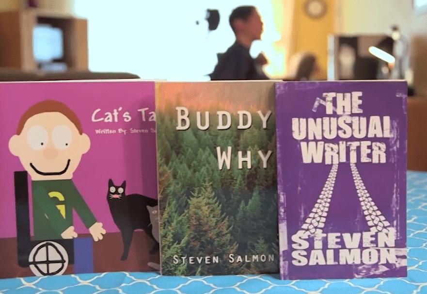 Steve Salmon's three books on display