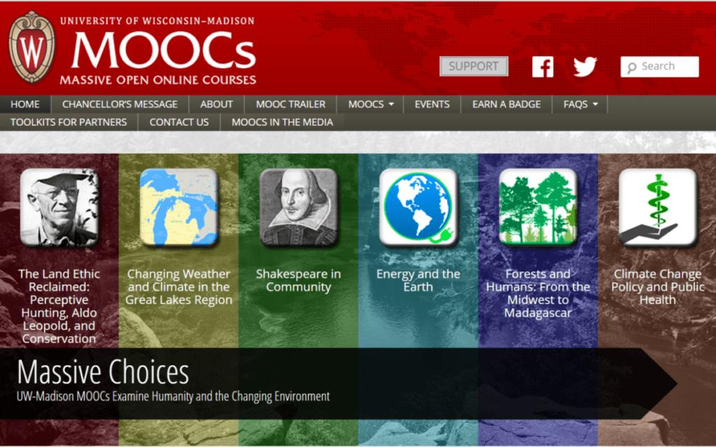 screen shot of the MOOCs website