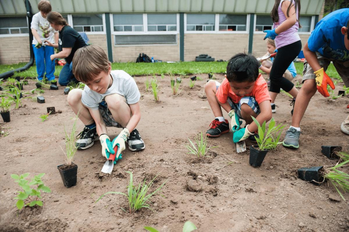 kids planing a garden