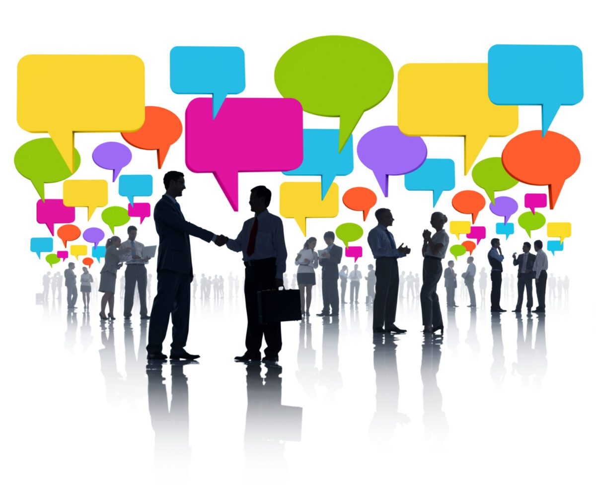 people talking with conversation bubbles