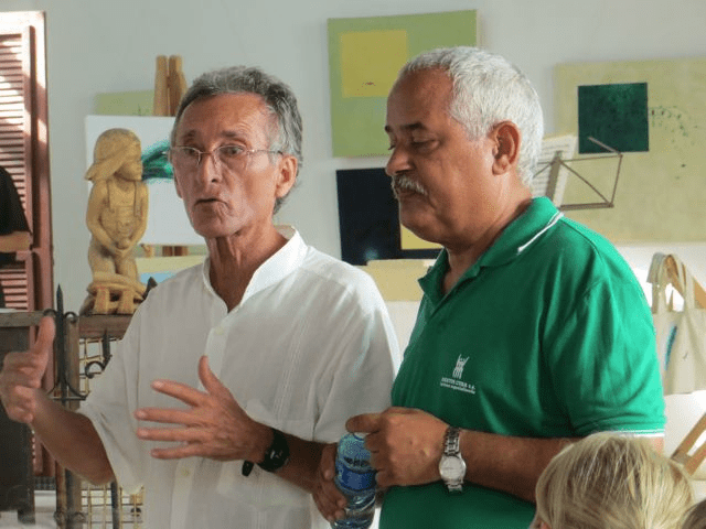 Artist Orestes and Eliseo Preval talking