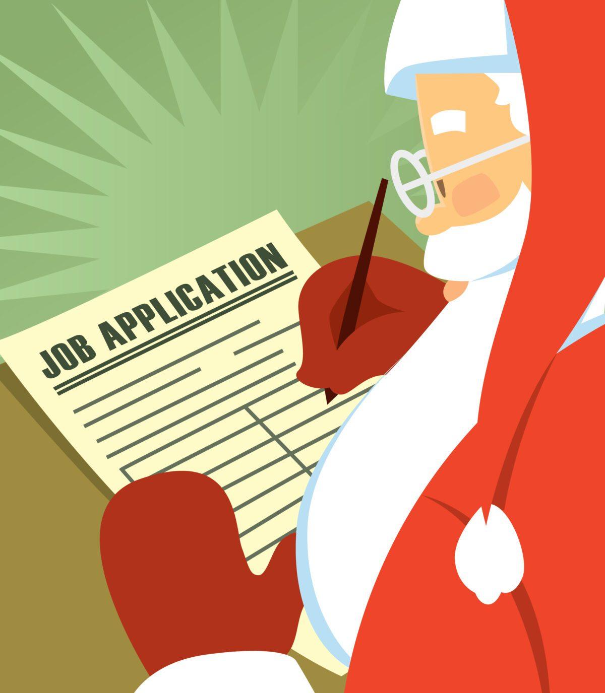Santa Claus filling out a job application during the holiday season.