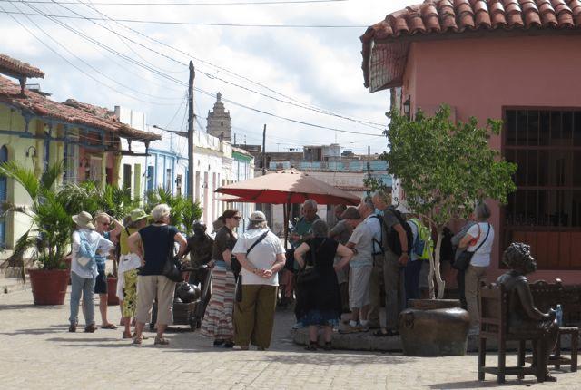 group in front of Marta Jimenez gallery in Camaguey, Cuba