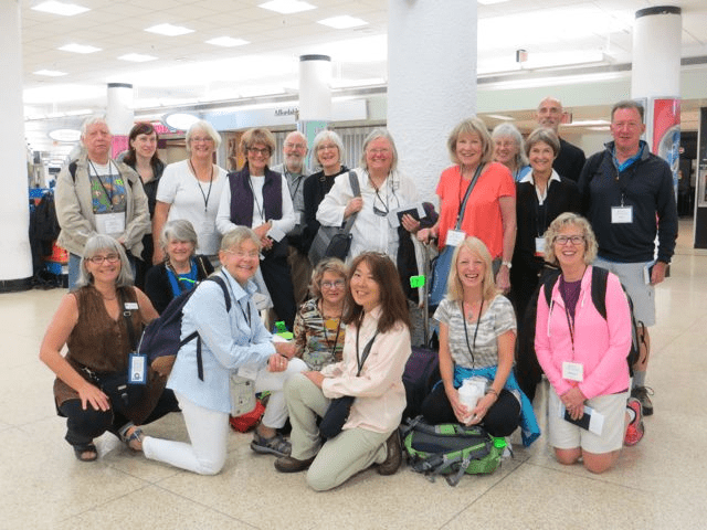 group visiting Cuba in the Miami airport