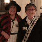 Margie Navarre Saaf as Jane Austen and Chris Wagner as a suffragette.