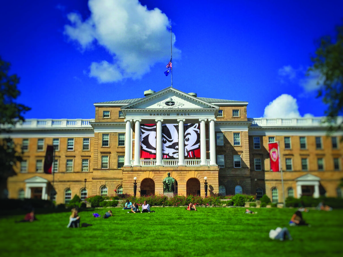 Bascom Hall with the Bucky Badger banner haning