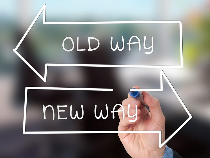 arrows pointing opposite directions that say old way and new way