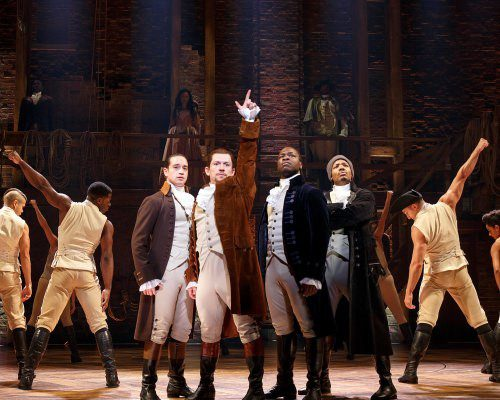 a still image of the Hamilton production