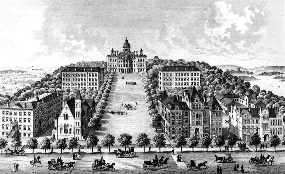 drawing of Bascom Hill from 1887