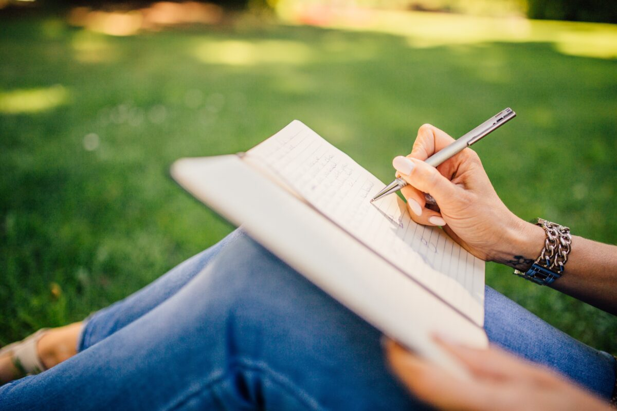 writing outdoors
