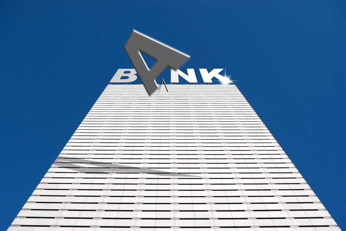 Bank building with the letter 'A' falling off the top