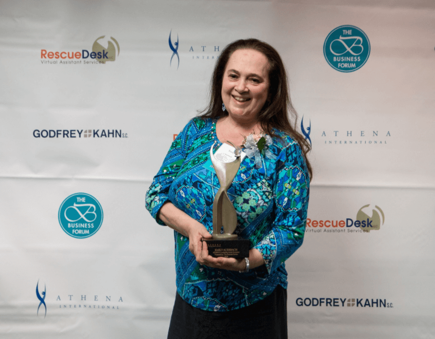 Emily Auerbach with Athena award