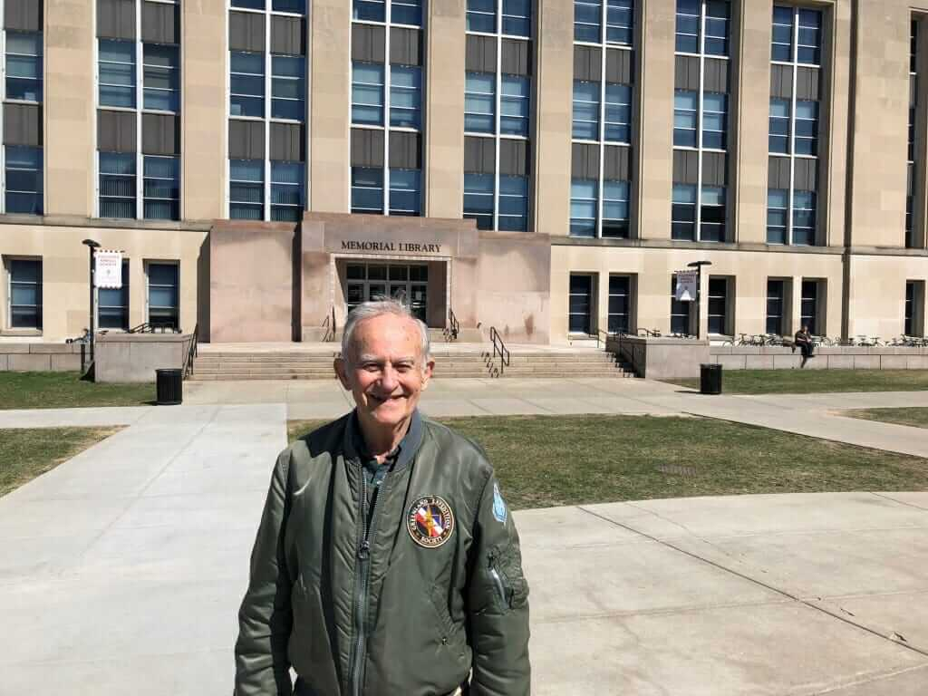 Hecker in front of Memorial Library at UW-Madison