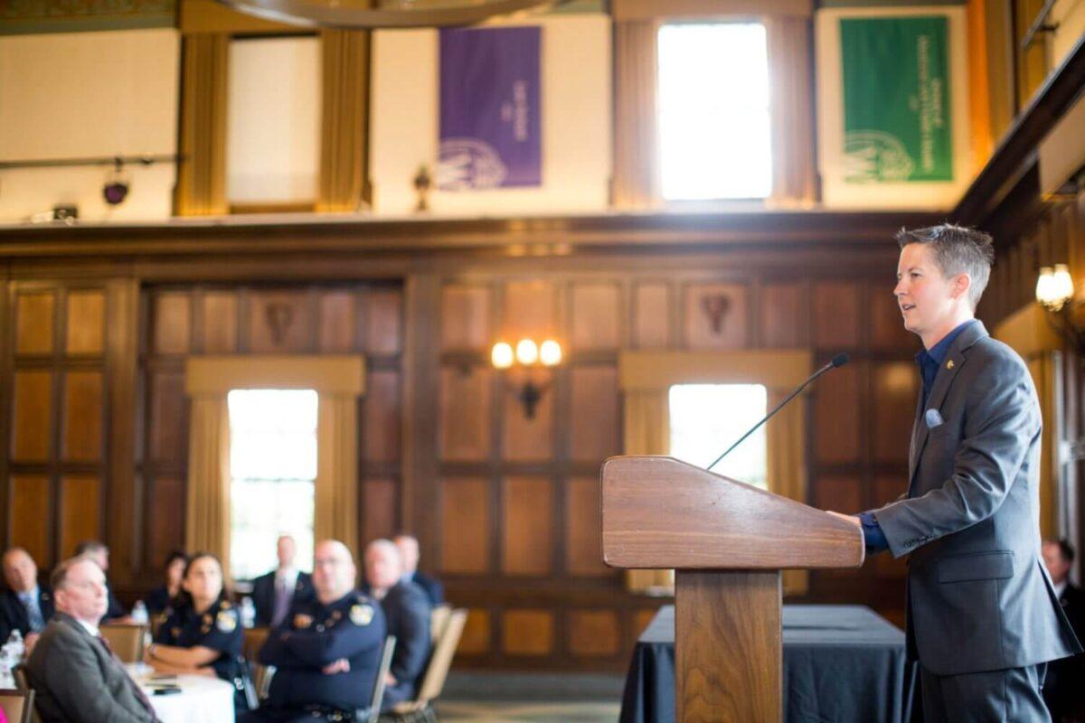 Jill Weisensel at Wisconsin Law Enforcement Command College graduation