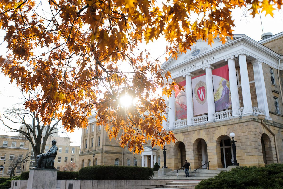 Bascom Hall and the Abraham Lincoln statue at the University of Wisconsin-Madison
