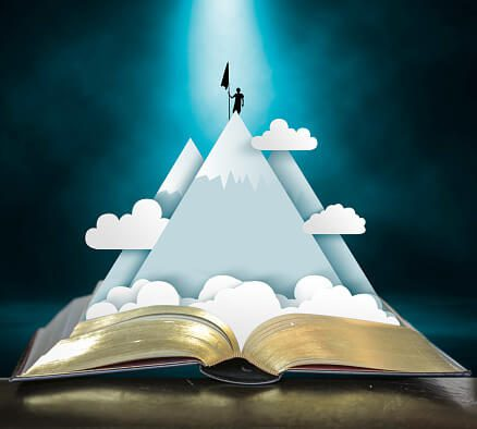 illustration of a book with a mountain coming out of it and a person standing on the mountaintop