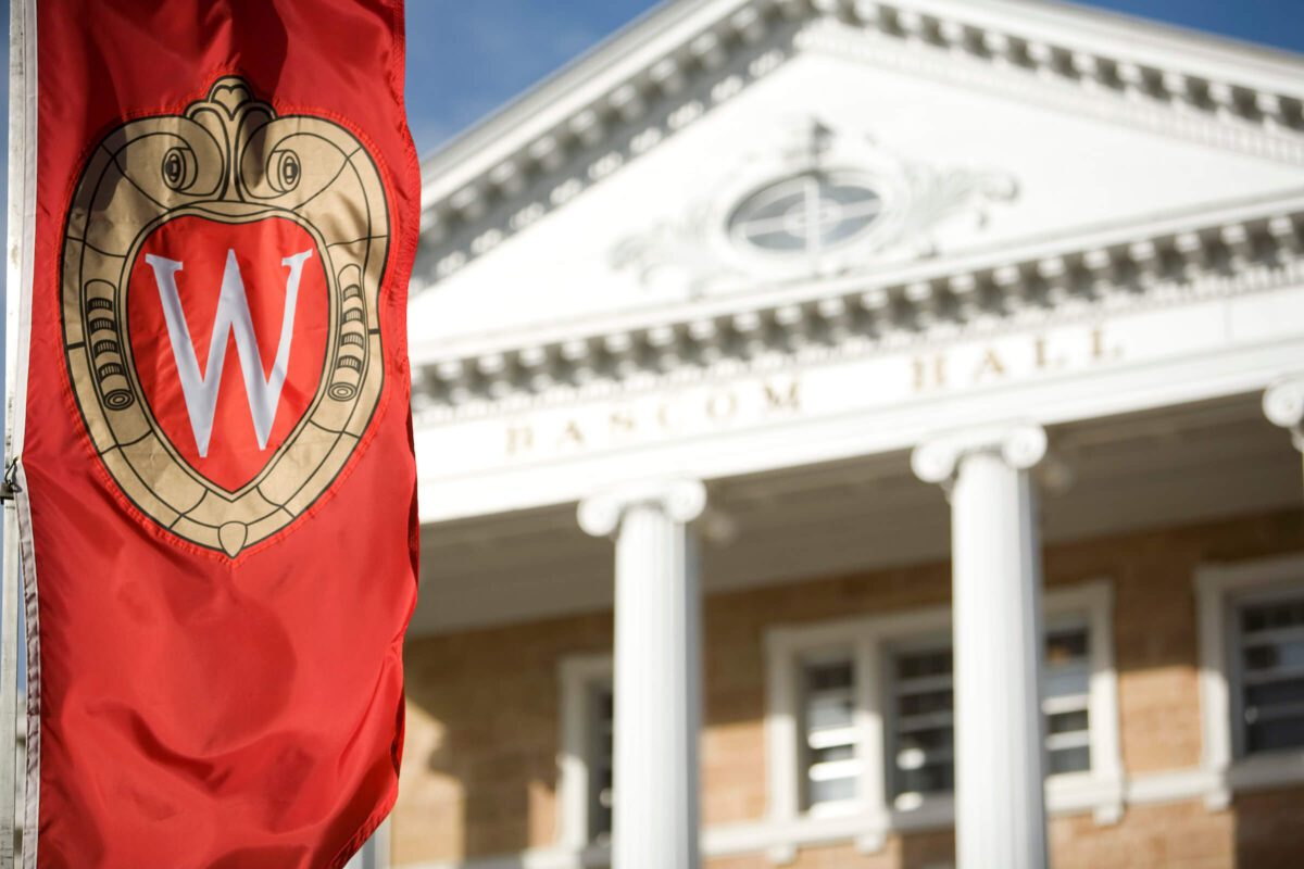 UW-Madison Bascom hall with UW banner out front