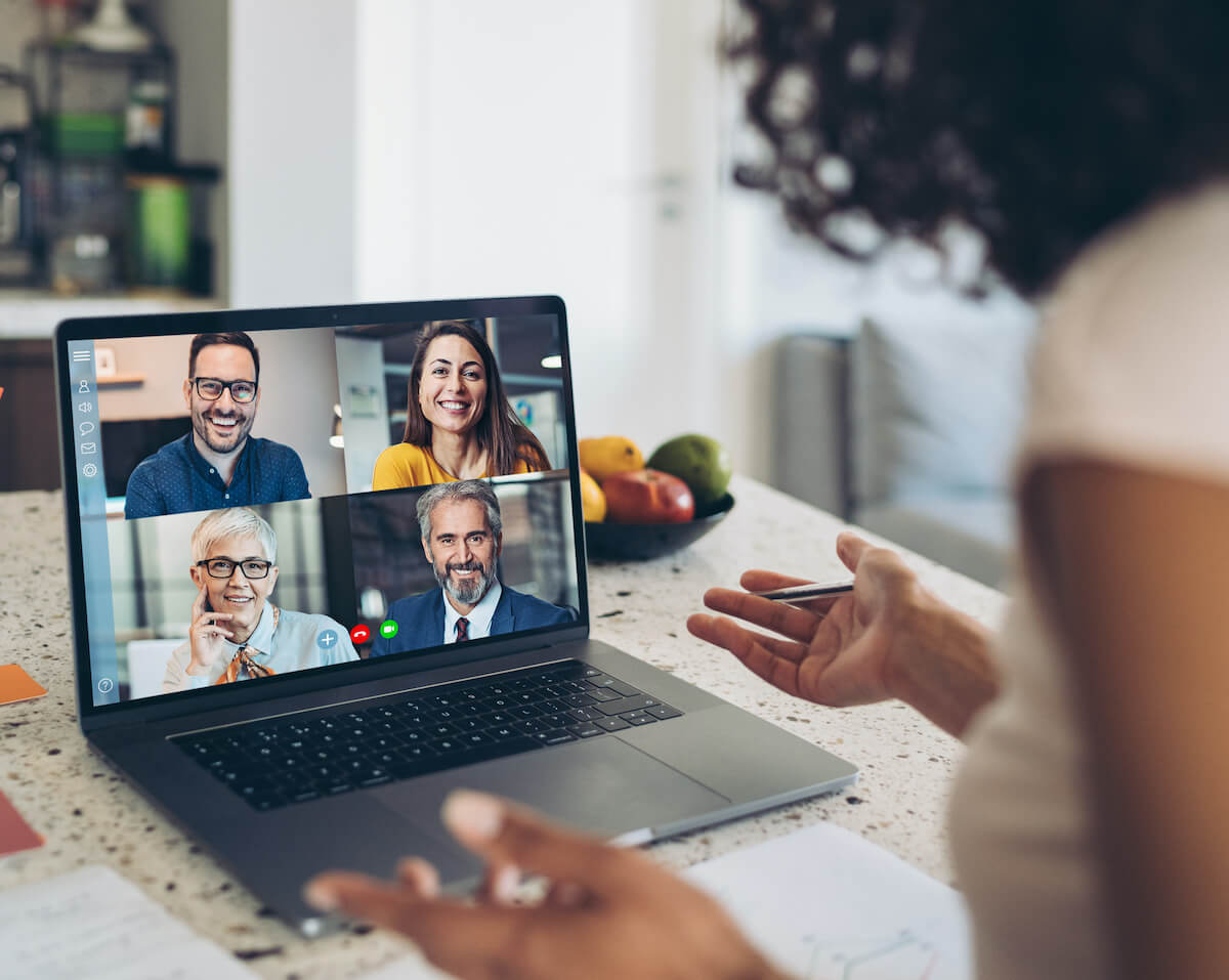 Business persons having a video conference