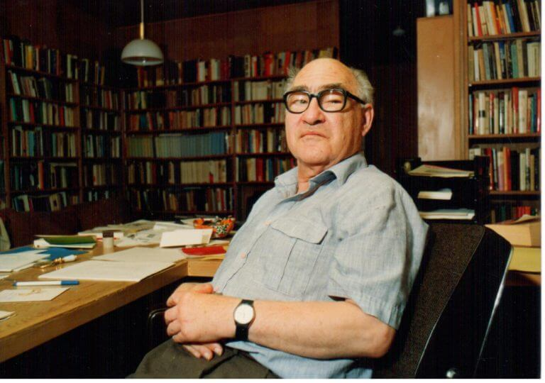 George Mosse sitting in his library