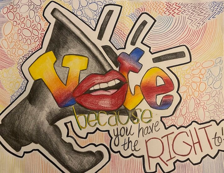 Artwork with megaphone and the word VOTE