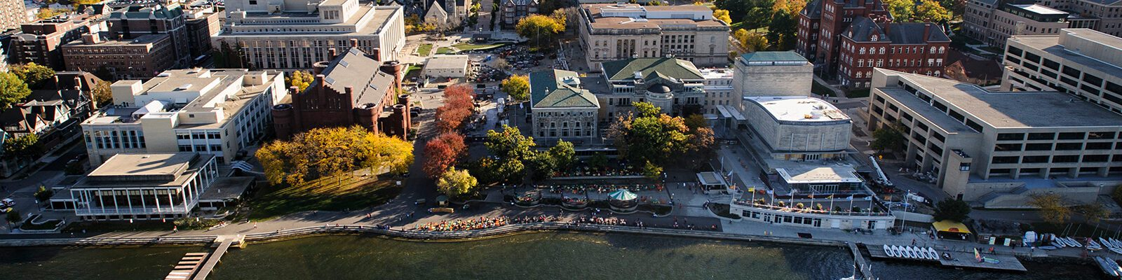 An aerial view of the UW–Madison campus from Lake Mendota.