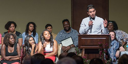 An Odyssey participant speaks at graduation