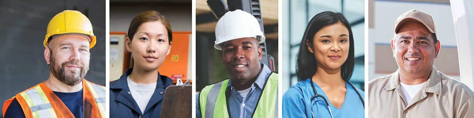 A line of headshots portraying several different careers such as nurses, construction workers, firefighters and more.