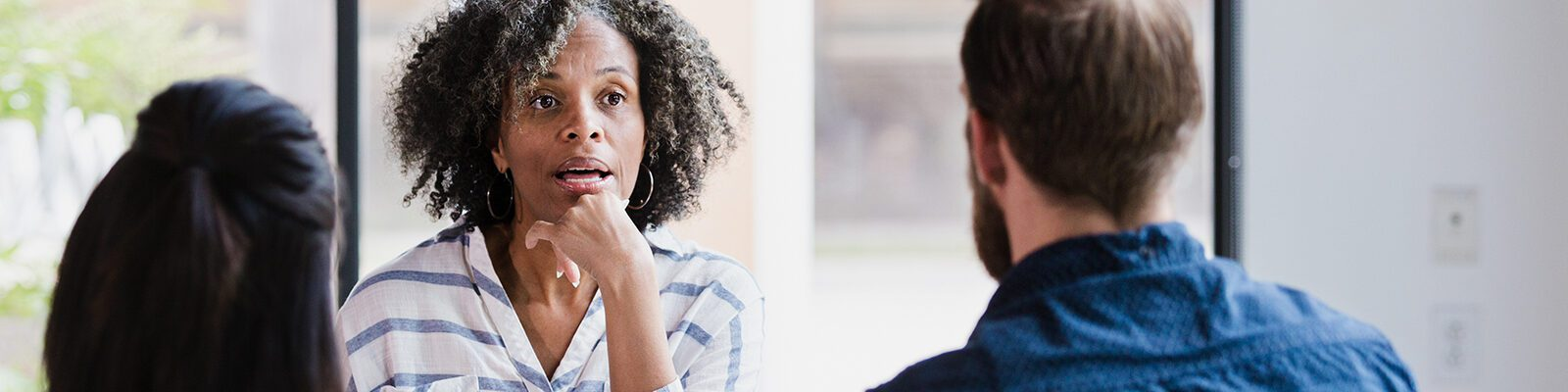 Two people talking during counseling