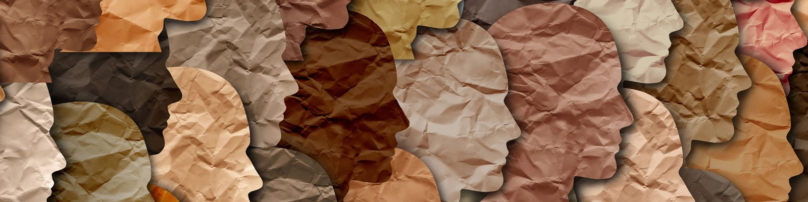 Collage of peoples profiles cut out of different colors of paper