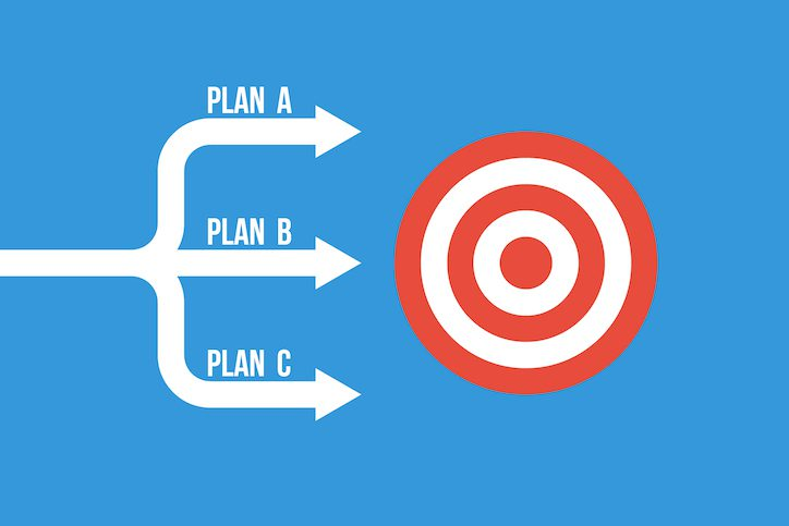 many arrows moving to one goal, different plans vector concept