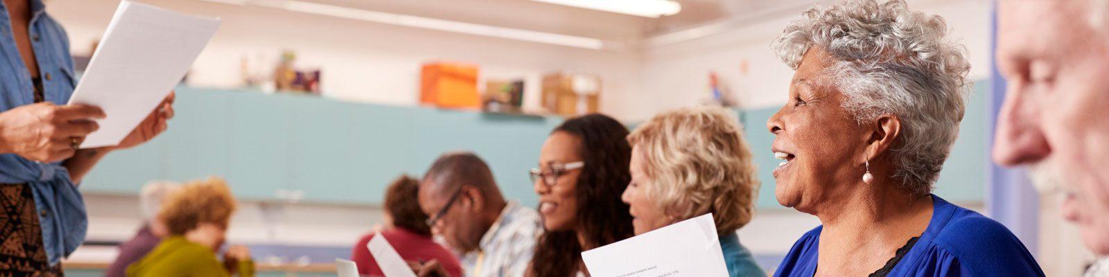 Adults in classroom setting