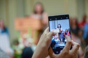 Taking video of graduates