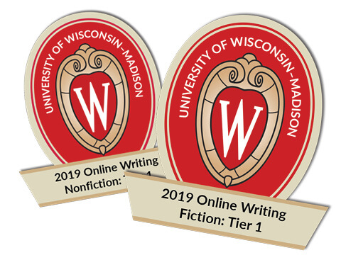 Graphic design of writing badges on University of Wisconsin Madison crest. Badges shown are for 2019 online writing in fiction or nonfiction.
